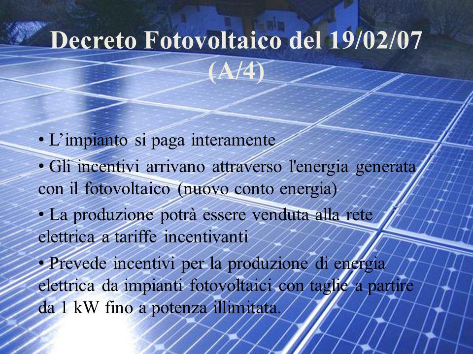 Decreto Fotovoltaico del 19/02/07 (A/4) L'impianto si paga interamente Gli incentivi arrivano attraverso l'energia generata con il fotovoltaico (nuovo