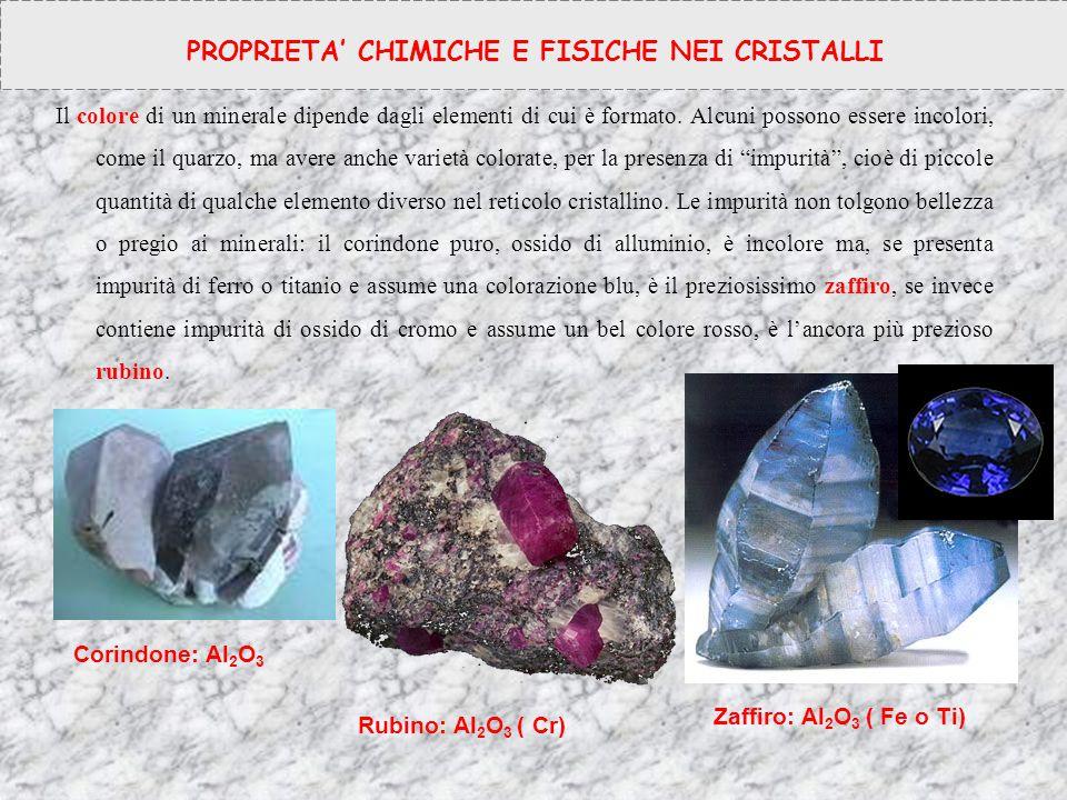Il colore di un minerale dipende dagli elementi di cui è formato. Alcuni possono essere incolori, come il quarzo, ma avere anche varietà colorate, per