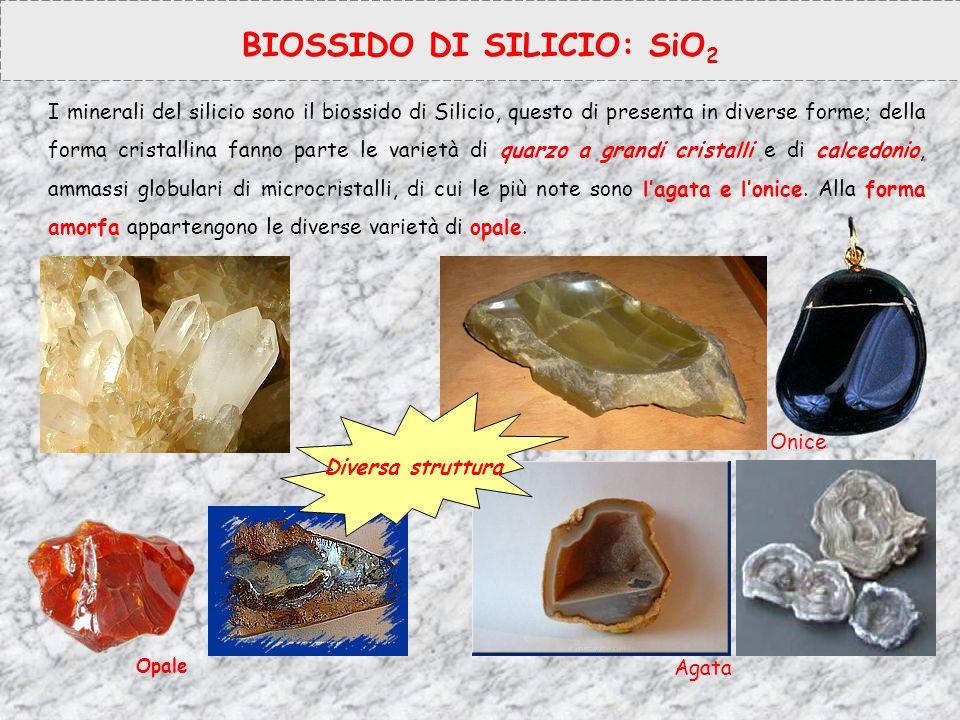 BIOSSIDO DI SILICIO: SiO 2 I minerali del silicio sono il biossido di Silicio, questo di presenta in diverse forme; della forma cristallina fanno part