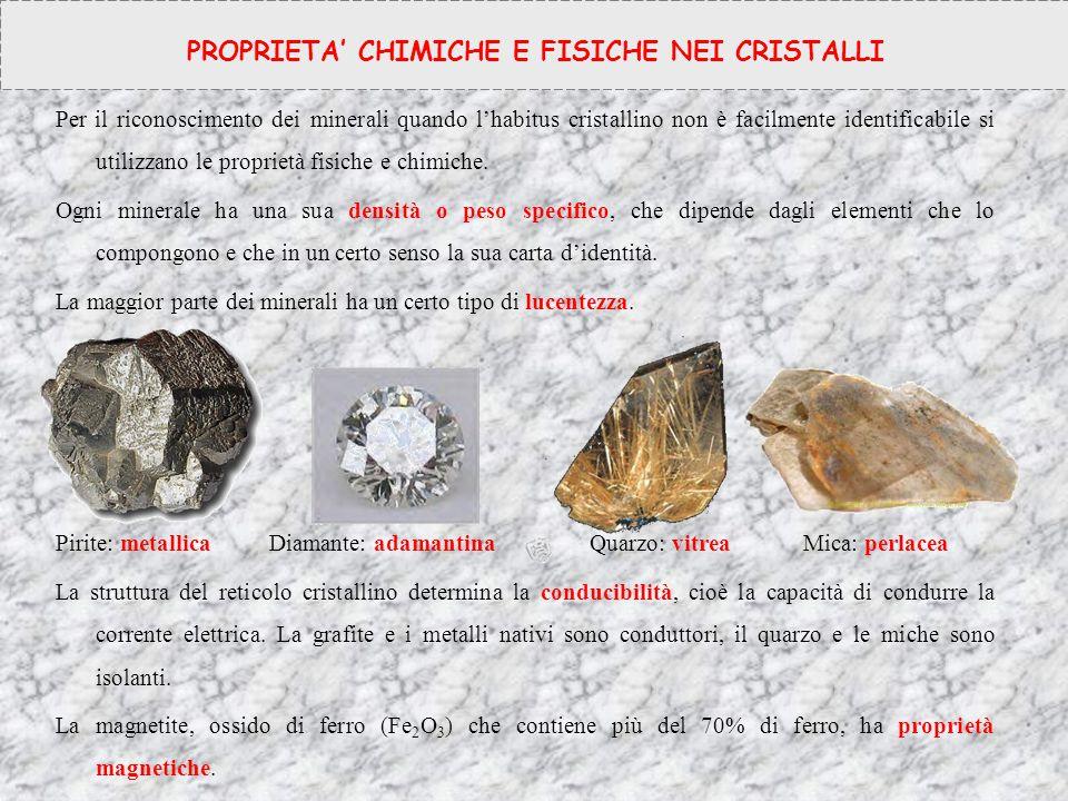 Per il riconoscimento dei minerali quando l'habitus cristallino non è facilmente identificabile si utilizzano le proprietà fisiche e chimiche. Ogni mi