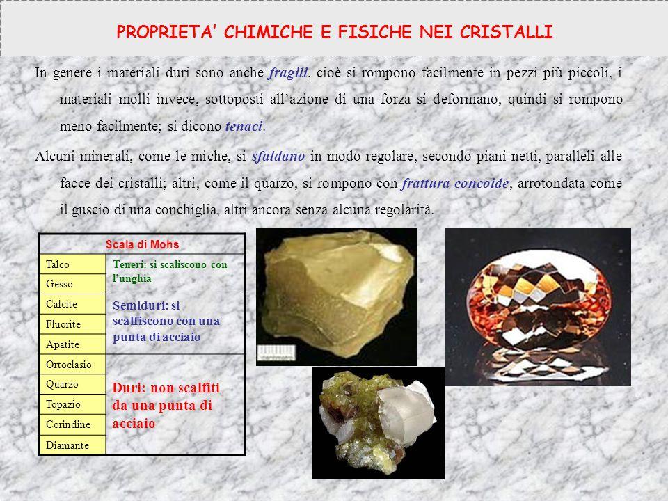 In genere i materiali duri sono anche fragili, cioè si rompono facilmente in pezzi più piccoli, i materiali molli invece, sottoposti all'azione di una