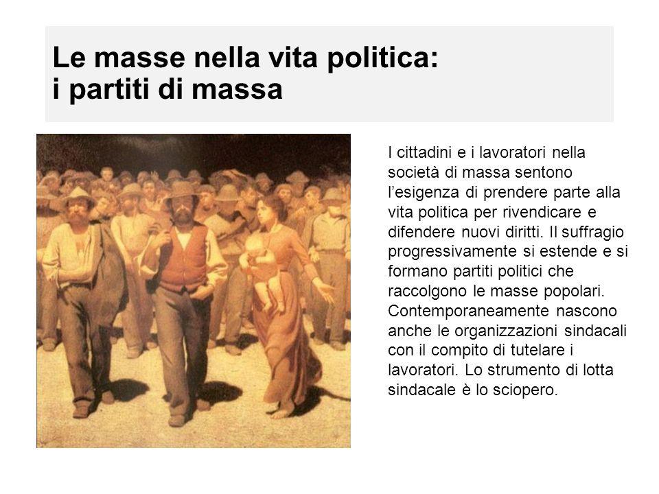 Le masse nella vita politica: i partiti di massa I cittadini e i lavoratori nella società di massa sentono l'esigenza di prendere parte alla vita poli