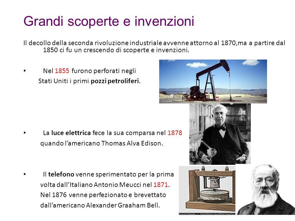 Grandi scoperte e invenzioni Il decollo della seconda rivoluzione industriale avvenne attorno al 1870,ma a partire dal 1850 ci fu un crescendo di scop