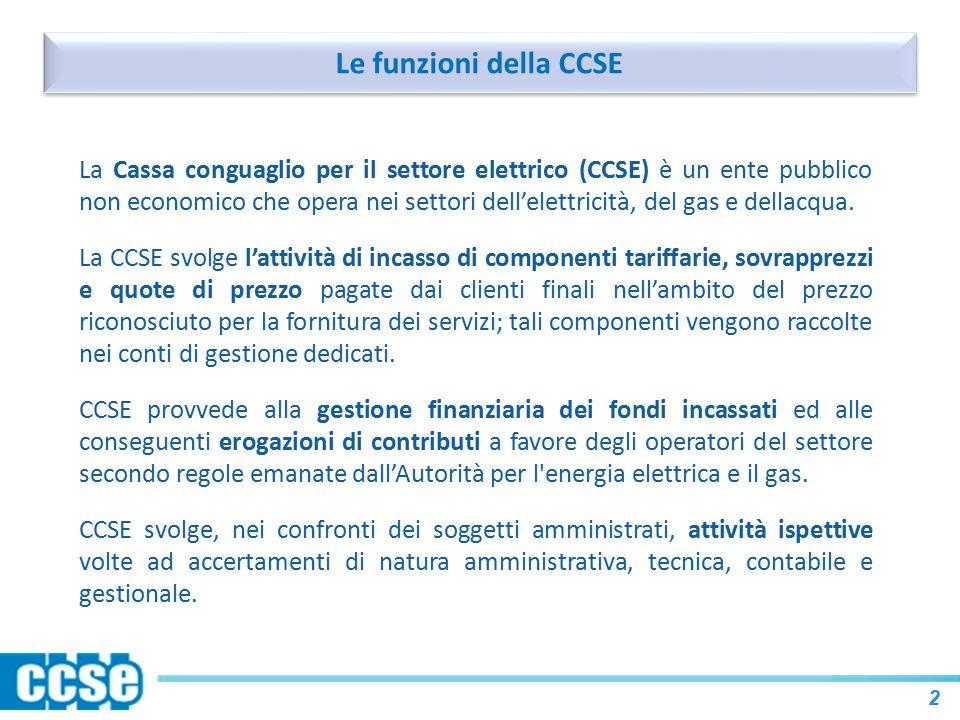 Le funzioni della CCSE 2 La Cassa conguaglio per il settore elettrico (CCSE) è un ente pubblico non economico che opera nei settori dell'elettricità, del gas e dellacqua.
