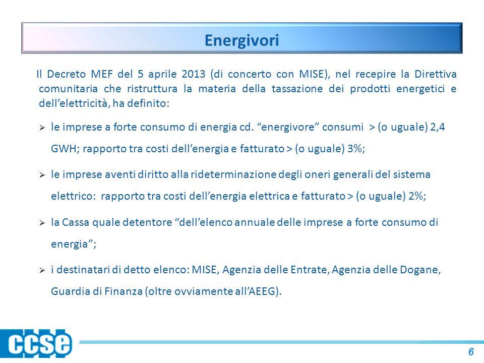Energivori Il Decreto MEF del 5 aprile 2013 (di concerto con MISE), nel recepire la Direttiva comunitaria che ristruttura la materia della tassazione dei prodotti energetici e dell'elettricità, ha definito:  le imprese a forte consumo di energia cd.
