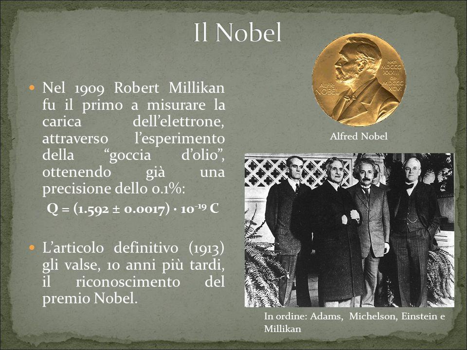 Nel 1909 Robert Millikan fu il primo a misurare la carica dell'elettrone, attraverso l'esperimento della goccia d'olio , ottenendo già una precisione dello 0.1%: Q = (1.592 ± 0.0017) · 10 -19 C L'articolo definitivo (1913) gli valse, 10 anni più tardi, il riconoscimento del premio Nobel.