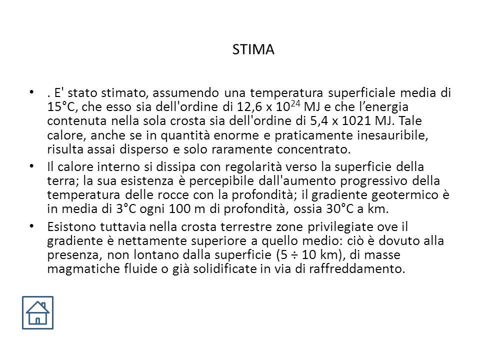 STIMA. E' stato stimato, assumendo una temperatura superficiale media di 15°C, che esso sia dell'ordine di 12,6 x 10 24 MJ e che l'energia contenuta n