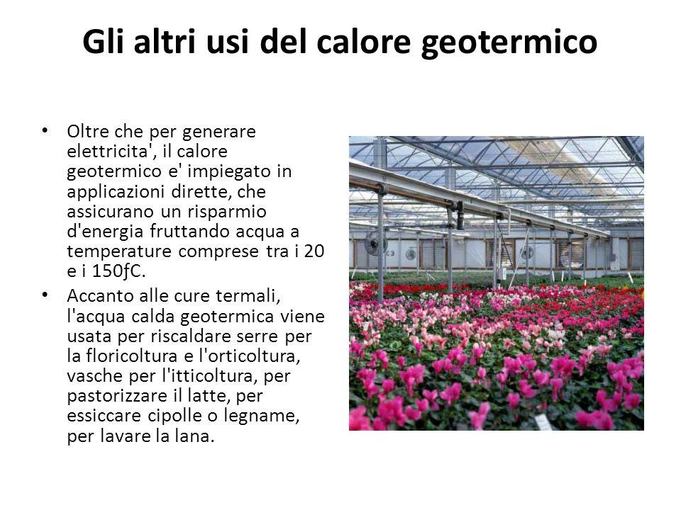 Gli altri usi del calore geotermico Oltre che per generare elettricita', il calore geotermico e' impiegato in applicazioni dirette, che assicurano un