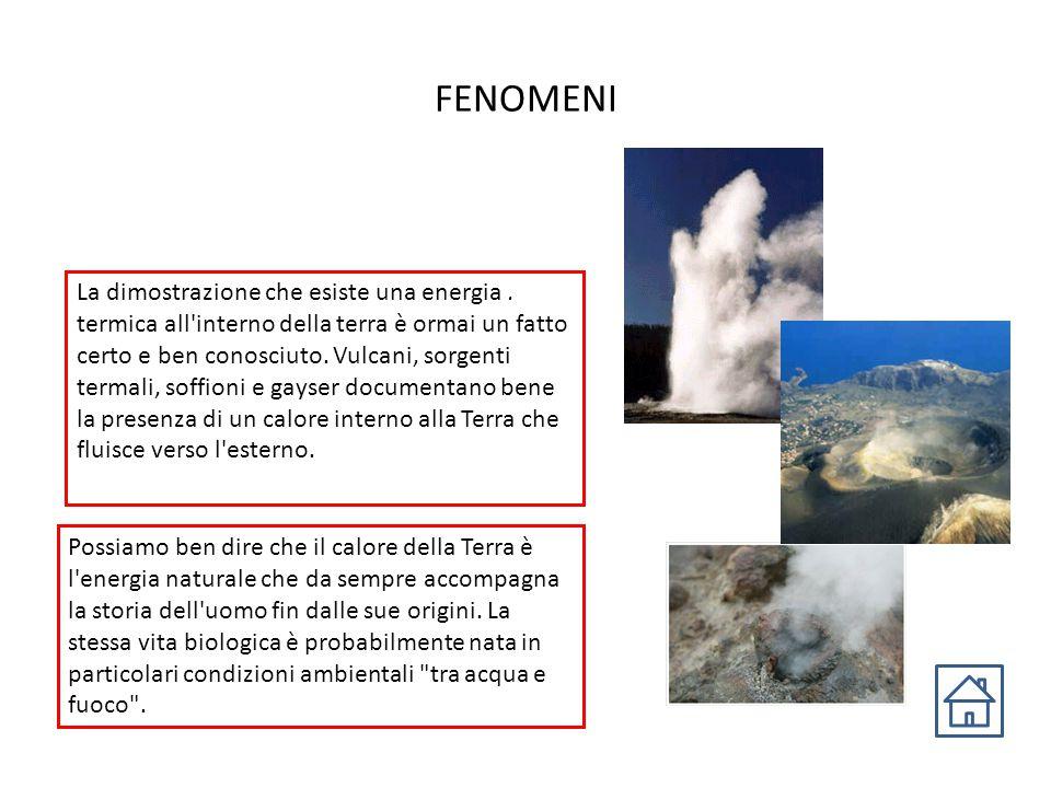 FENOMENI La dimostrazione che esiste una energia. termica all'interno della terra è ormai un fatto certo e ben conosciuto. Vulcani, sorgenti termali,