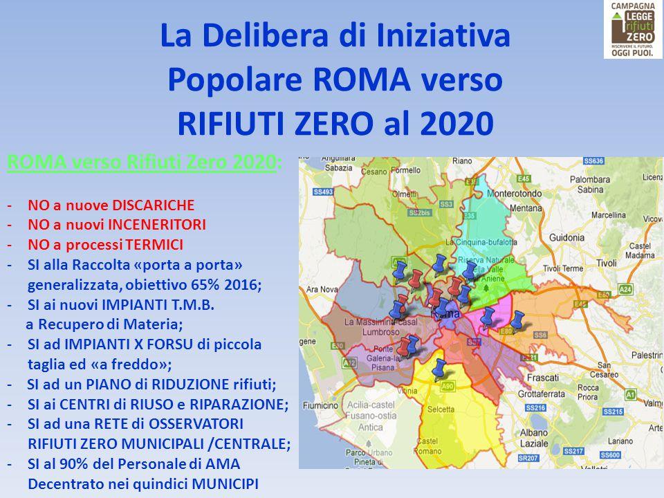 ROMA verso Rifiuti Zero 2020: -NO a nuove DISCARICHE -NO a nuovi INCENERITORI -NO a processi TERMICI -SI alla Raccolta «porta a porta» generalizzata,