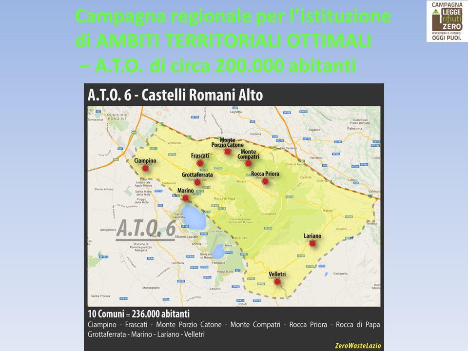Campagna regionale per l'istituzione di AMBITI TERRITORIALI OTTIMALI – A.T.O. di circa 200.000 abitanti