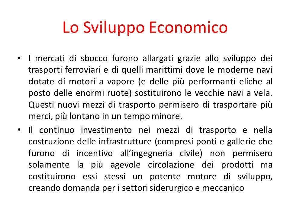 Lo Sviluppo Economico I mercati di sbocco furono allargati grazie allo sviluppo dei trasporti ferroviari e di quelli marittimi dove le moderne navi do