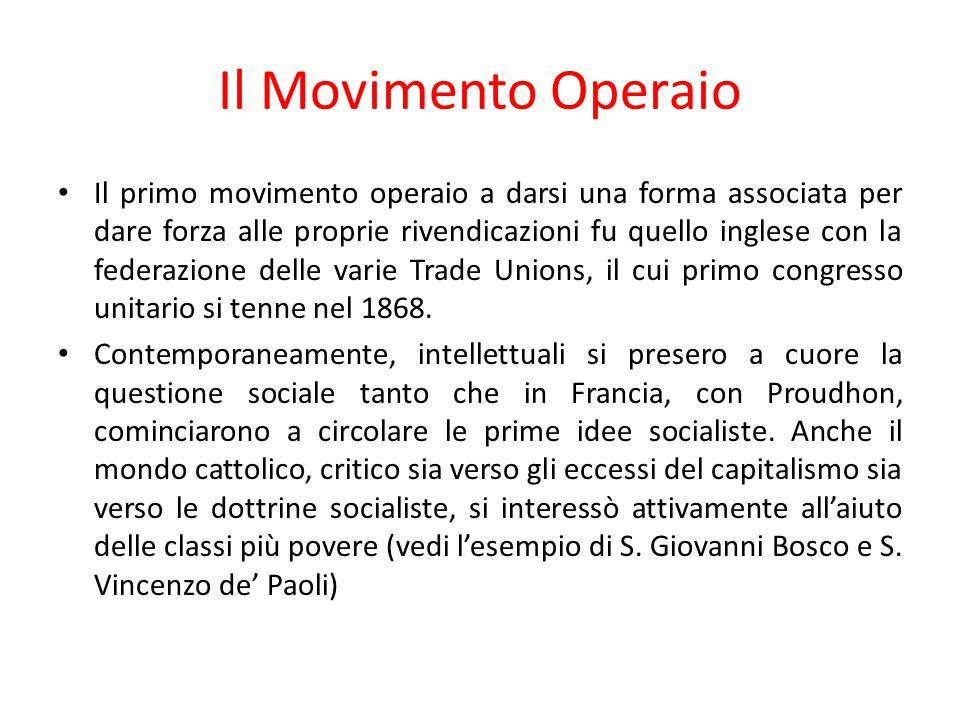 Il Movimento Operaio Il primo movimento operaio a darsi una forma associata per dare forza alle proprie rivendicazioni fu quello inglese con la federa