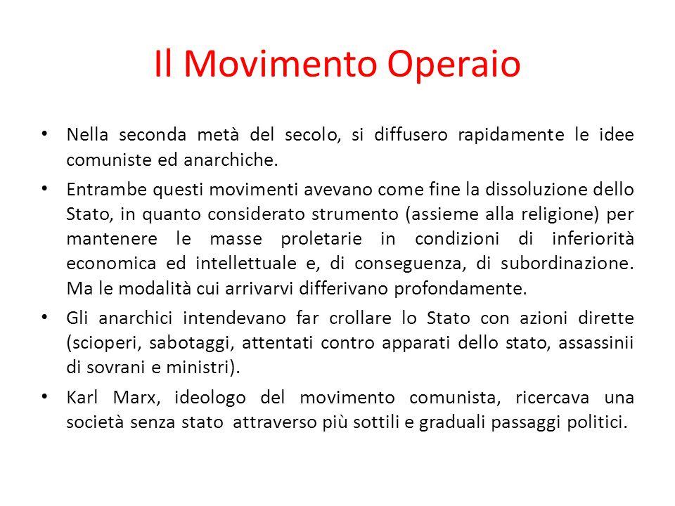 Il Movimento Operaio Nella seconda metà del secolo, si diffusero rapidamente le idee comuniste ed anarchiche. Entrambe questi movimenti avevano come f