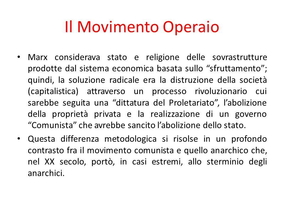 """Il Movimento Operaio Marx considerava stato e religione delle sovrastrutture prodotte dal sistema economica basata sullo """"sfruttamento""""; quindi, la so"""