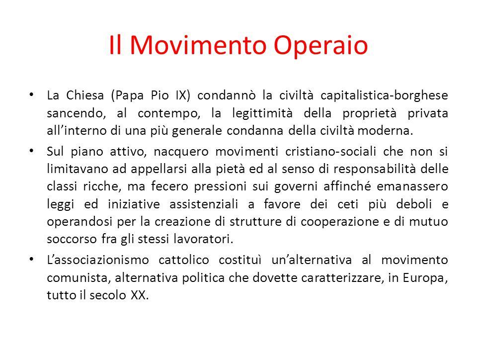 Il Movimento Operaio La Chiesa (Papa Pio IX) condannò la civiltà capitalistica-borghese sancendo, al contempo, la legittimità della proprietà privata