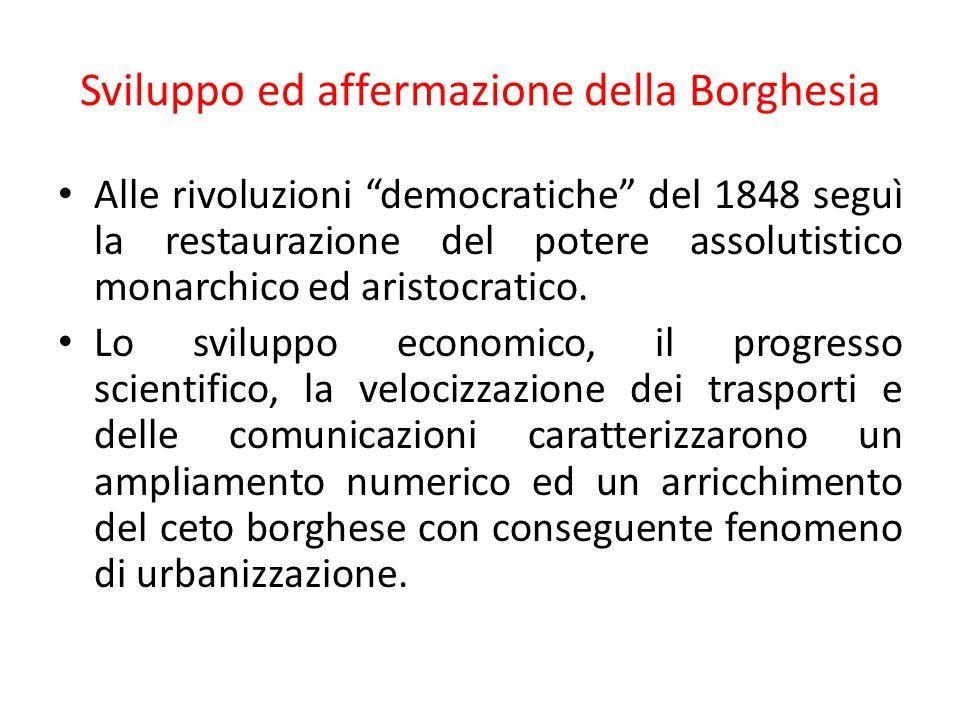 Sviluppo ed affermazione della Borghesia Le idee guida della borghesia erano: libera iniziativa e merito individuale, la concorrenza e l'innovazione tecnica combinate con una rigida struttura patriarcale, rigorismo morale con la famiglia come istituzione pilastro.