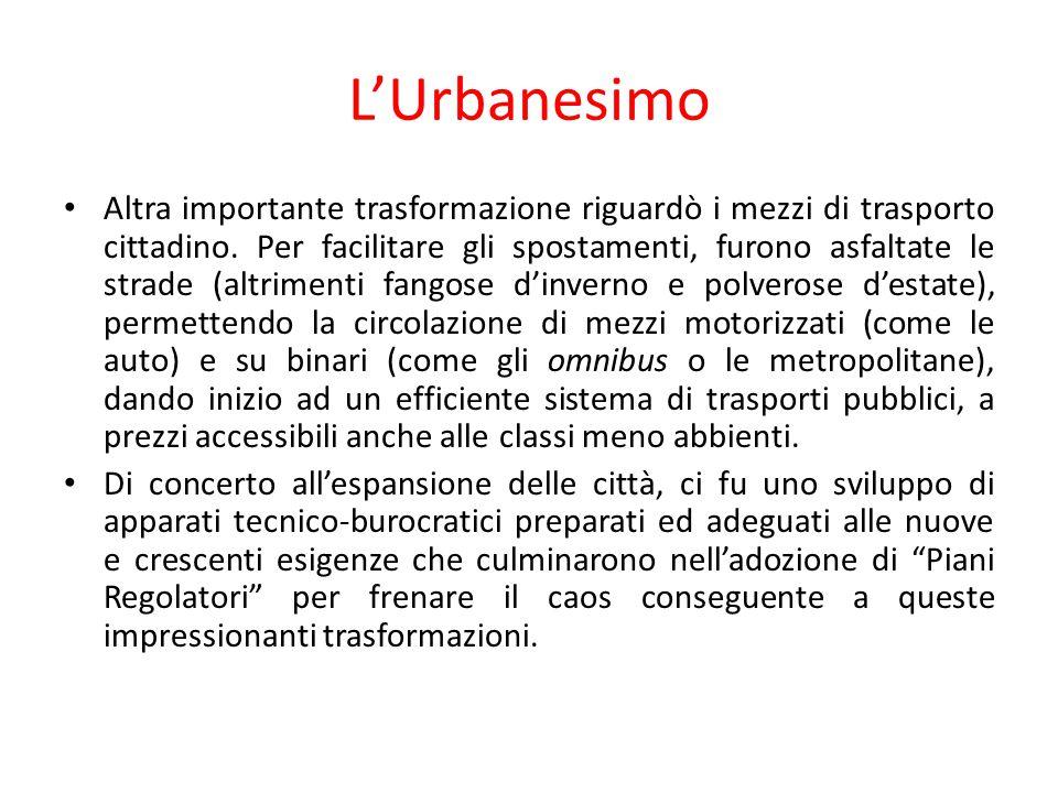 L'Urbanesimo Altra importante trasformazione riguardò i mezzi di trasporto cittadino. Per facilitare gli spostamenti, furono asfaltate le strade (altr