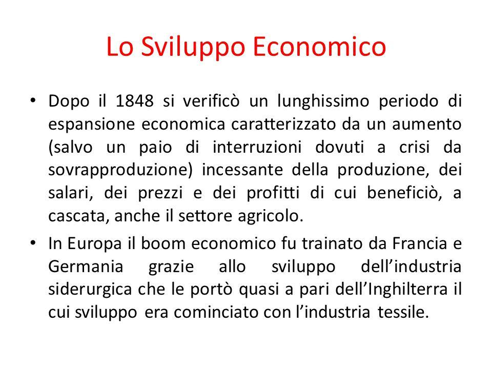 Lo Sviluppo Economico Dopo il 1848 si verificò un lunghissimo periodo di espansione economica caratterizzato da un aumento (salvo un paio di interruzi