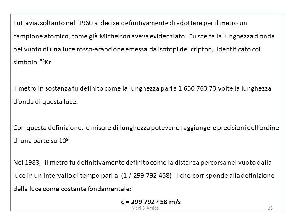26 Tuttavia, soltanto nel 1960 si decise definitivamente di adottare per il metro un campione atomico, come già Michelson aveva evidenziato.
