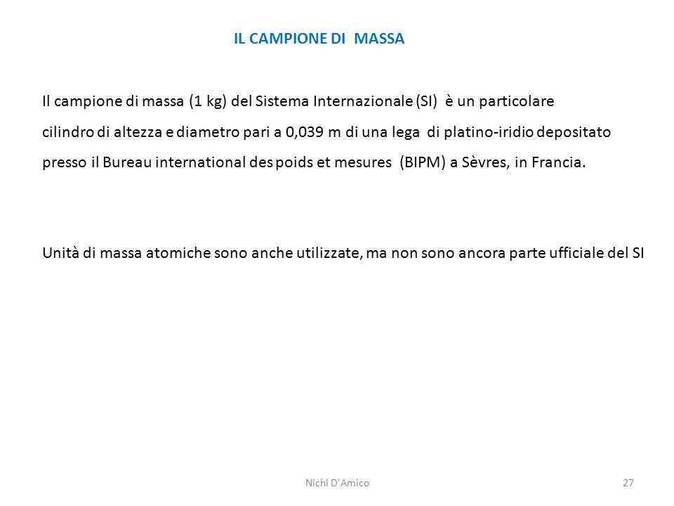 27 IL CAMPIONE DI MASSA Il campione di massa (1 kg) del Sistema Internazionale (SI) è un particolare cilindro di altezza e diametro pari a 0,039 m di una lega di platino-iridio depositato presso il Bureau international des poids et mesures (BIPM) a Sèvres, in Francia.