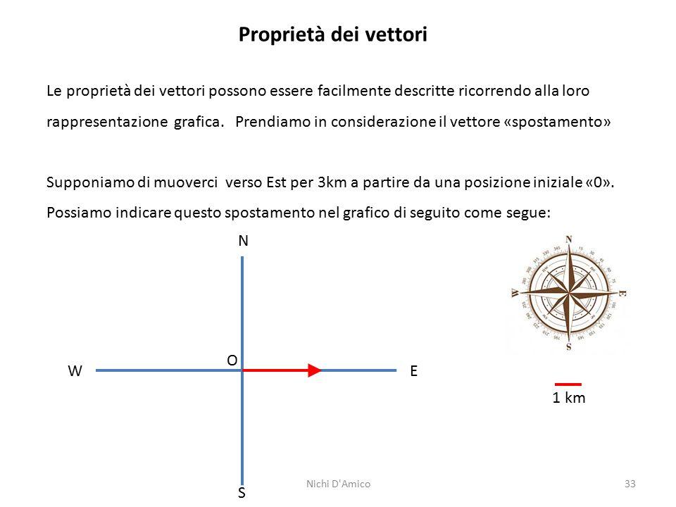 33 Proprietà dei vettori Le proprietà dei vettori possono essere facilmente descritte ricorrendo alla loro rappresentazione grafica. Prendiamo in cons