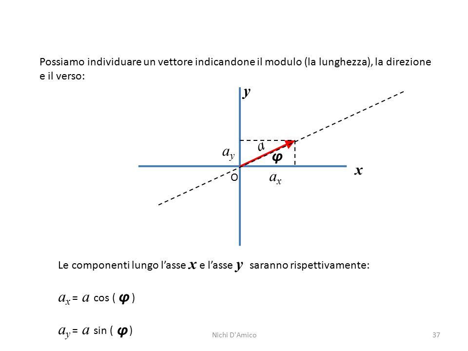 37 Possiamo individuare un vettore indicandone il modulo (la lunghezza), la direzione e il verso: y x O φ a Le componenti lungo l'asse x e l'asse y saranno rispettivamente: a x = a cos ( ) a y = a sin ( ) φ φ axax ayay Nichi D Amico