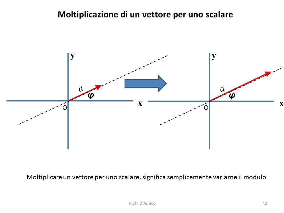 42 Moltiplicazione di un vettore per uno scalare y x O φ a Moltiplicare un vettore per uno scalare, significa semplicemente variarne il modulo y x O φ