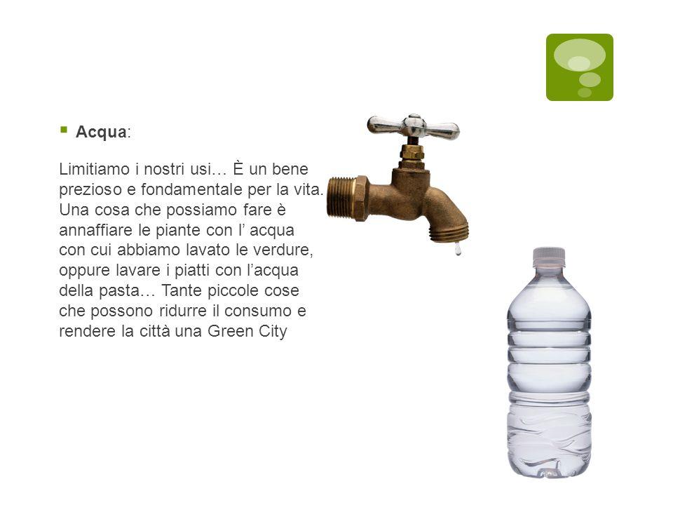  Acqua: Limitiamo i nostri usi… È un bene prezioso e fondamentale per la vita. Una cosa che possiamo fare è annaffiare le piante con l' acqua con cui