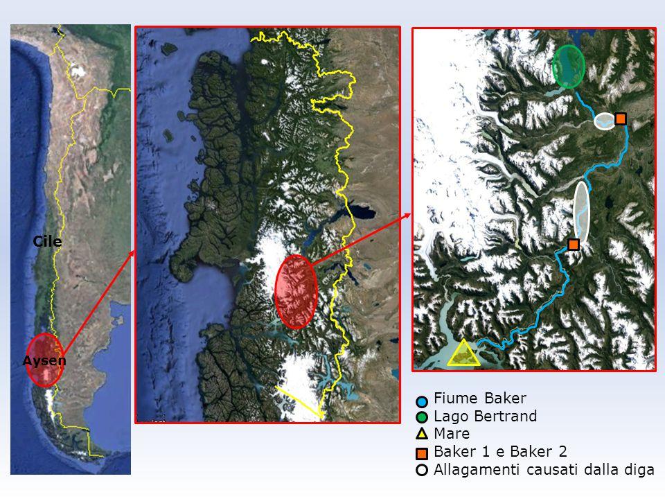 Cile Aysen Fiume Baker Lago Bertrand Mare Baker 1 e Baker 2 Allagamenti causati dalla diga