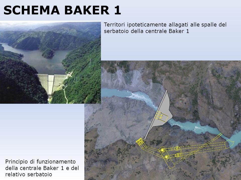SCHEMA BAKER 1 Principio di funzionamento della centrale Baker 1 e del relativo serbatoio Territori ipoteticamente allagati alle spalle del serbatoio