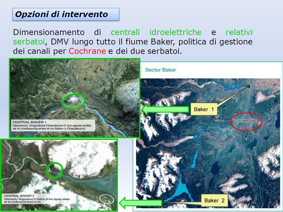 Opzioni di intervento Dimensionamento di centrali idroelettriche e relativi serbatoi, DMV lungo tutto il fiume Baker, politica di gestione dei canali