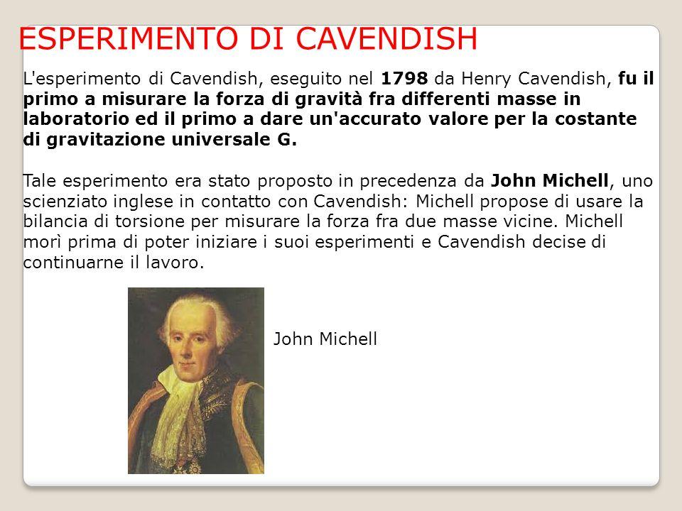 ESPERIMENTO DI CAVENDISH L'esperimento di Cavendish, eseguito nel 1798 da Henry Cavendish, fu il primo a misurare la forza di gravità fra differenti m