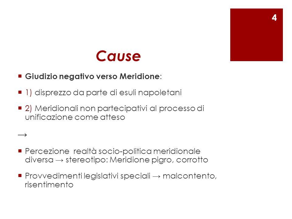 Cause  Giudizio negativo verso Meridione :  1) disprezzo da parte di esuli napoletani  2) Meridionali non partecipativi al processo di unificazione