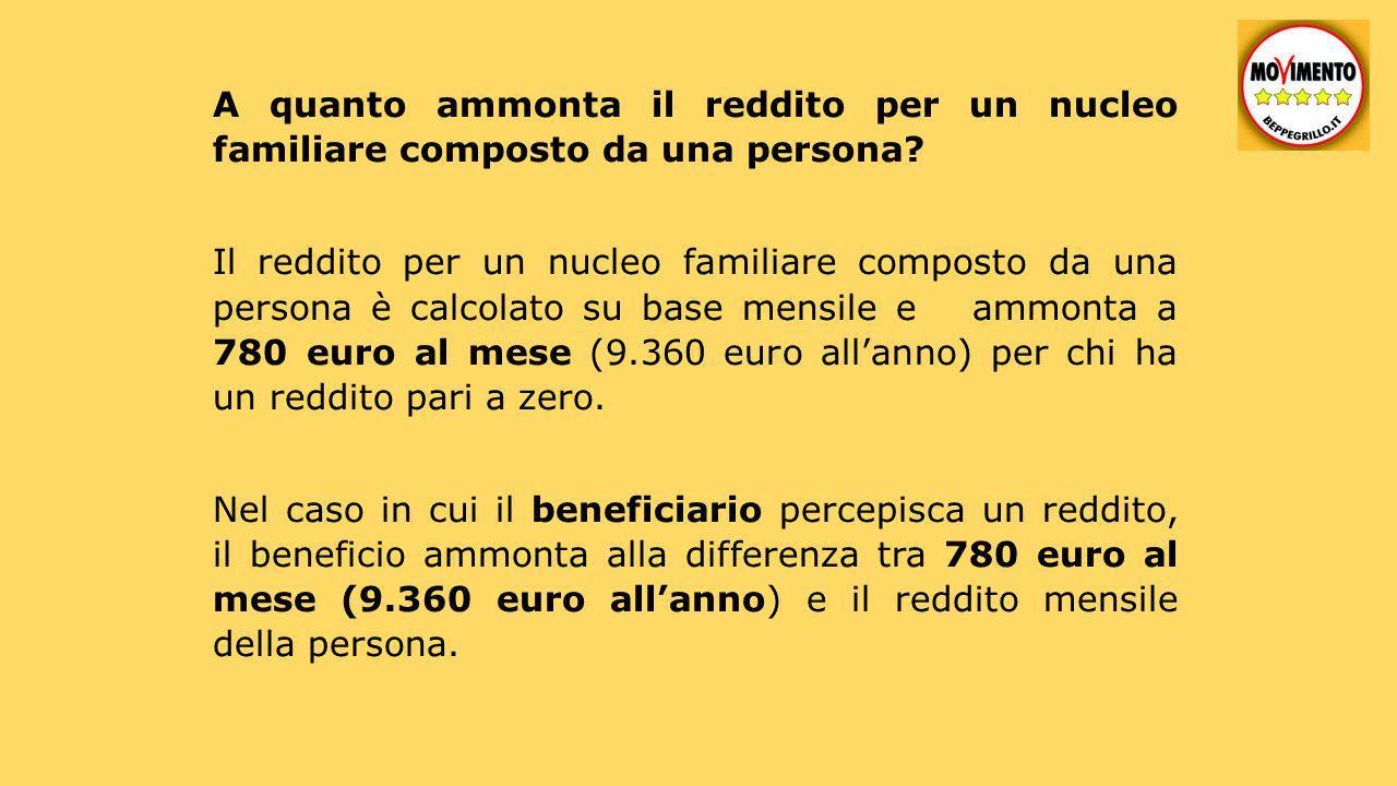 A quanto ammonta il reddito per un nucleo familiare composto da una persona? Il reddito per un nucleo familiare composto da una persona è calcolato su