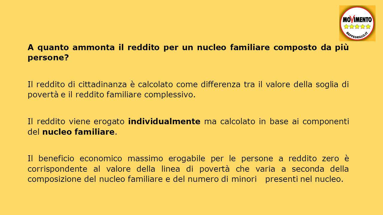 Esempi: 1 componente 780 euro (per una famiglia composta da una sola persona); 2 componenti da un minimo di 1014 a un massimo 1170 euro; 3 componenti da un minimo di 1248 a un massimo di 1560 euro; 4 componenti da un minimo di 1482 a un massimo di 1950 euro; ecc.