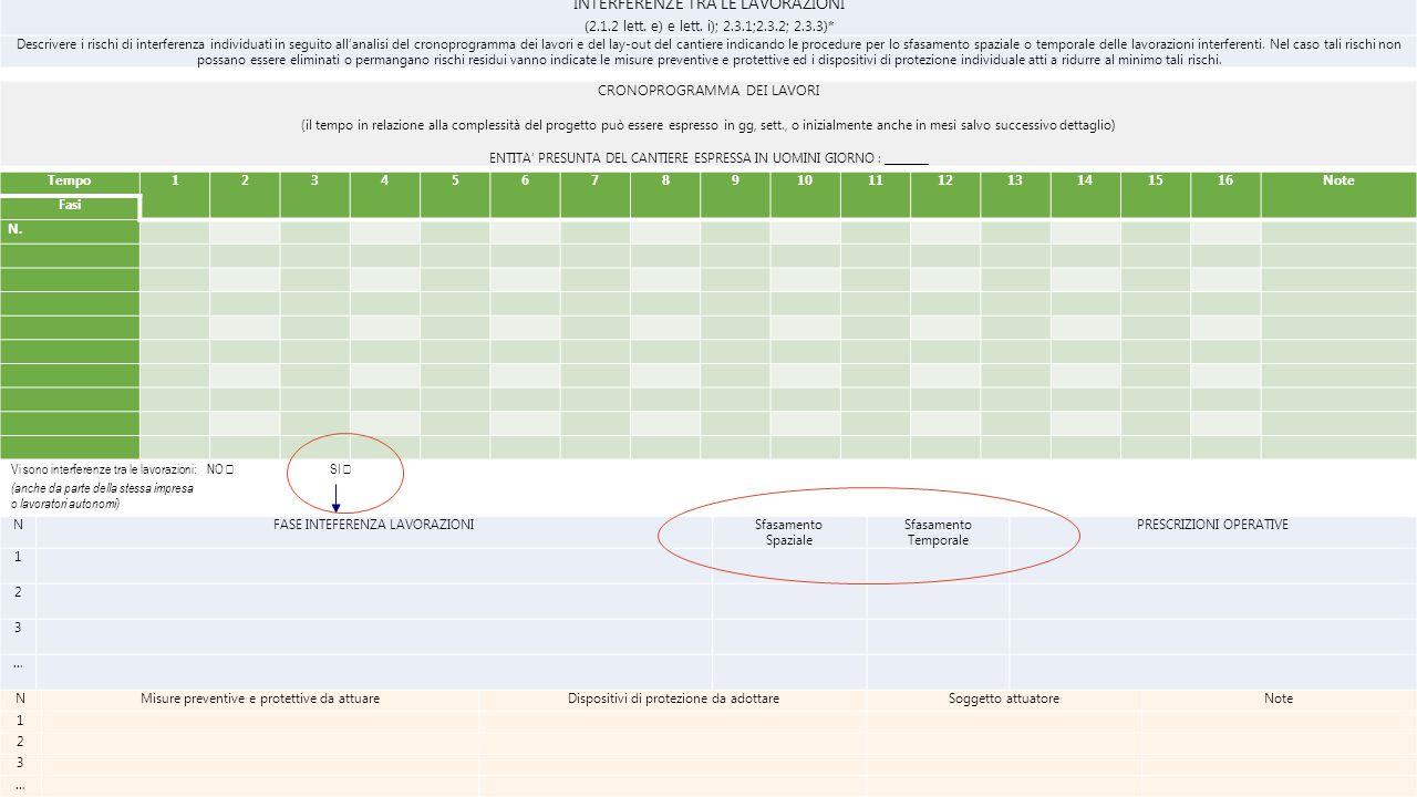 INTERFERENZE TRA LE LAVORAZIONI (2.1.2 lett. e) e lett. i); 2.3.1;2.3.2; 2.3.3)* Descrivere i rischi di interferenza individuati in seguito all'analis