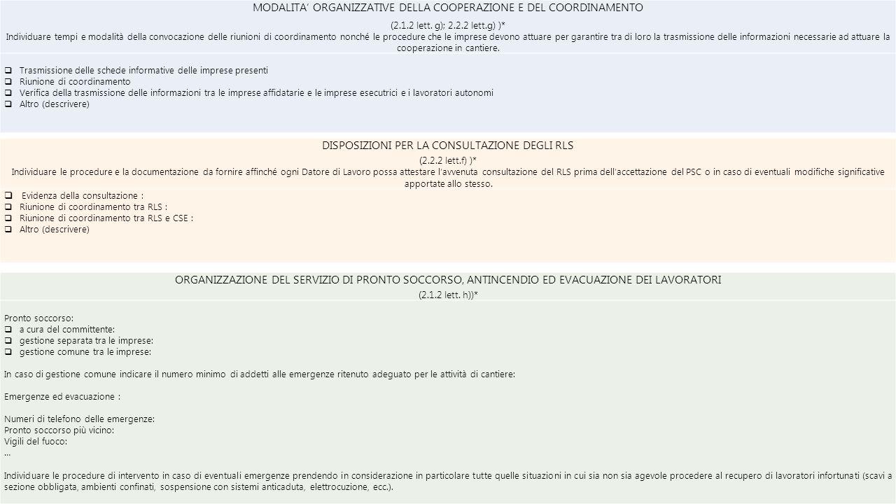 MODALITA' ORGANIZZATIVE DELLA COOPERAZIONE E DEL COORDINAMENTO (2.1.2 lett. g); 2.2.2 lett.g) )* Individuare tempi e modalità della convocazione delle