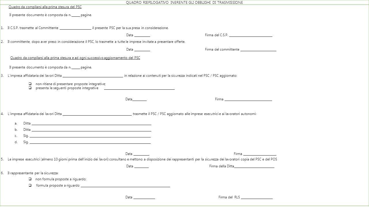 QUADRO RIEPILOGATIVO INERENTE GLI OBBLIGHI DI TRASMISSIONE Quadro da compilarsi alla prima stesura del PSC Il presente documento è composta da n.______ pagine.