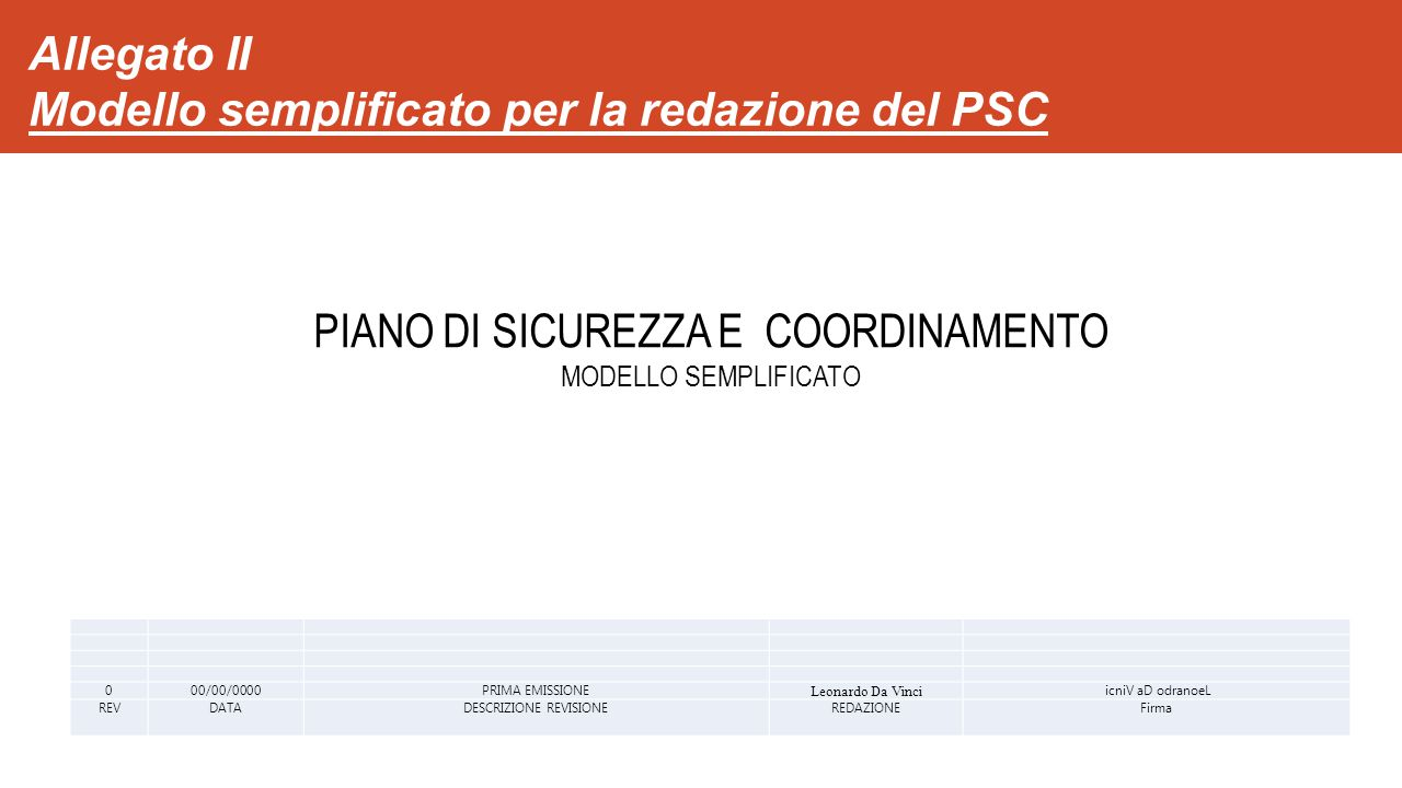 Allegato II Modello semplificato per la redazione del PSC 000/00/0000PRIMA EMISSIONE Leonardo Da Vinci icniV aD odranoeL REVDATADESCRIZIONE REVISIONEREDAZIONEFirma PIANO DI SICUREZZA E COORDINAMENTO MODELLO SEMPLIFICATO