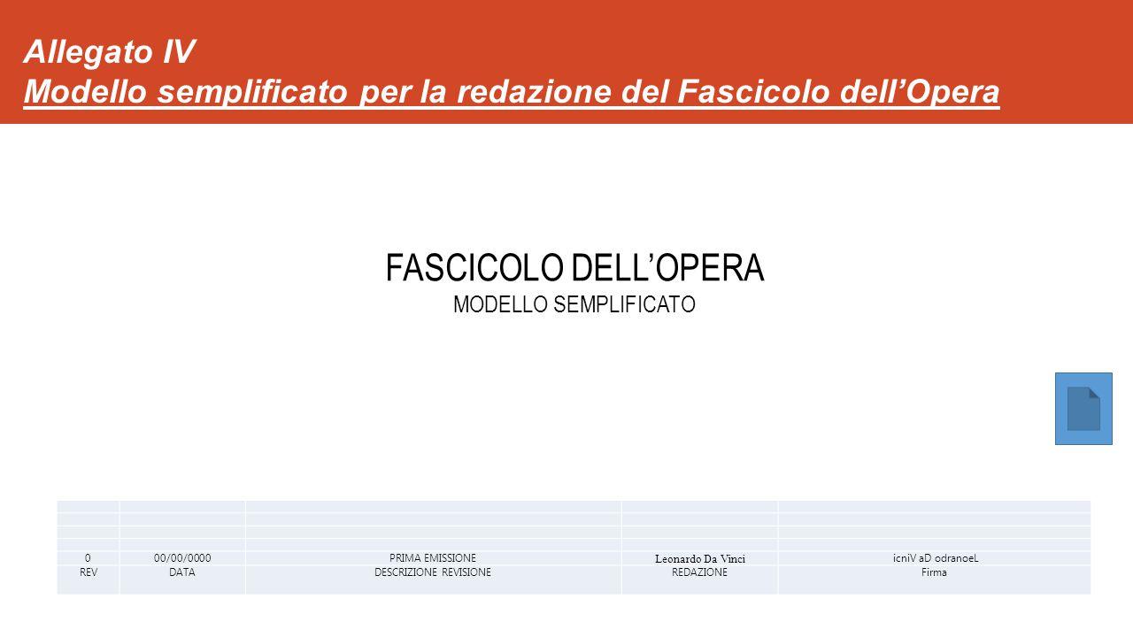 Allegato IV Modello semplificato per la redazione del Fascicolo dell'Opera 000/00/0000PRIMA EMISSIONE Leonardo Da Vinci icniV aD odranoeL REVDATADESCRIZIONE REVISIONEREDAZIONEFirma FASCICOLO DELL'OPERA MODELLO SEMPLIFICATO