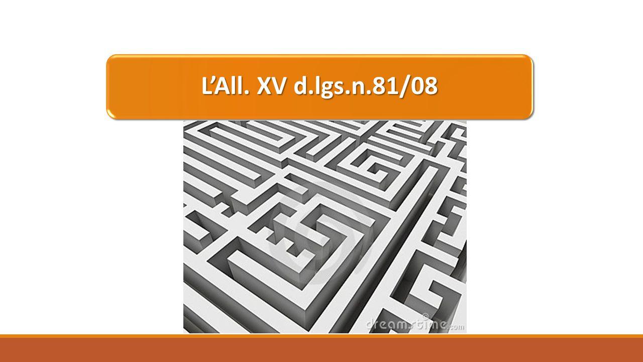 L'All. XV d.lgs.n.81/08