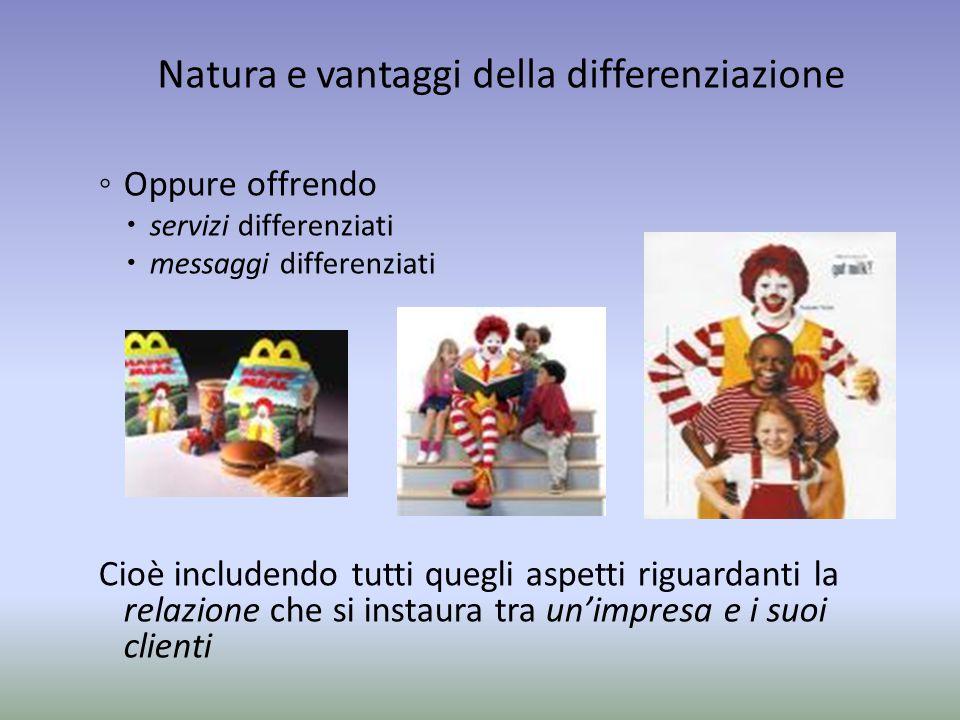 Natura e vantaggi della differenziazione ◦ Oppure offrendo  servizi differenziati  messaggi differenziati Cioè includendo tutti quegli aspetti rigua