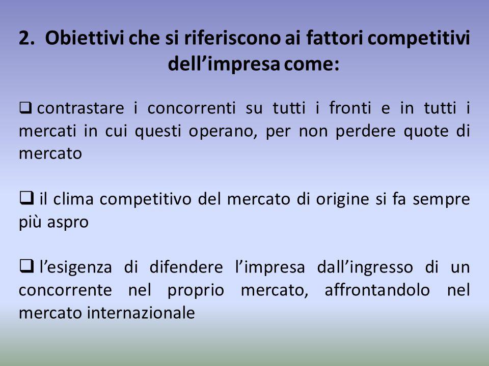 2. Obiettivi che si riferiscono ai fattori competitivi dell'impresa come:  contrastare i concorrenti su tutti i fronti e in tutti i mercati in cui qu