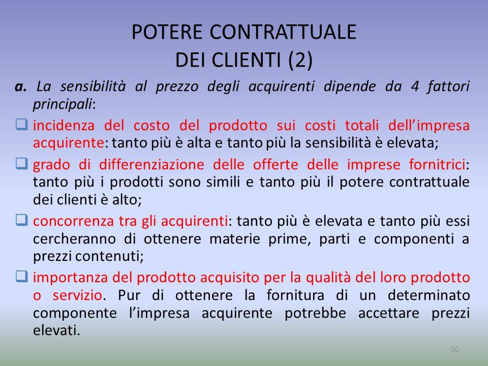 POTERE CONTRATTUALE DEI CLIENTI (2) a. La sensibilità al prezzo degli acquirenti dipende da 4 fattori principali:  incidenza del costo del prodotto s