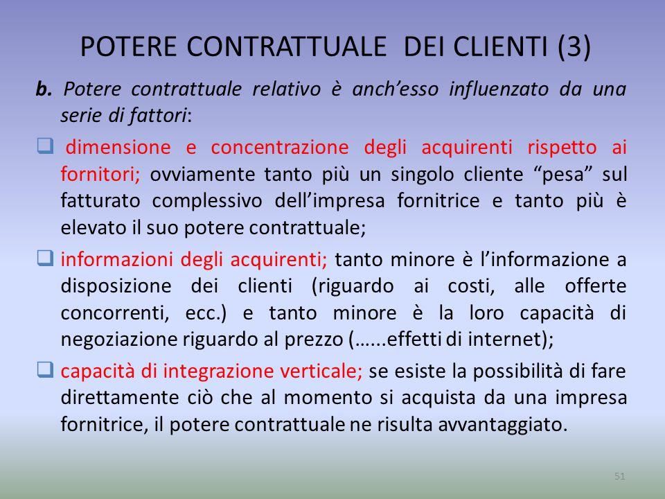 POTERE CONTRATTUALE DEI CLIENTI (3) b. Potere contrattuale relativo è anch'esso influenzato da una serie di fattori:  dimensione e concentrazione deg