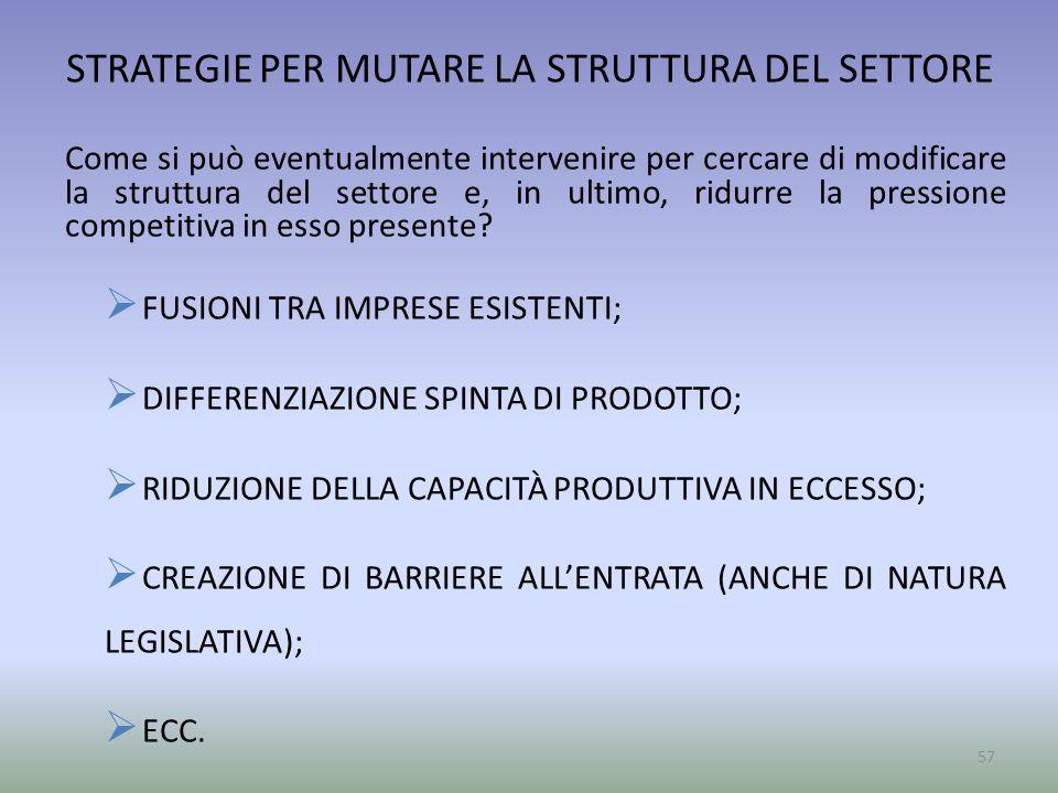 STRATEGIE PER MUTARE LA STRUTTURA DEL SETTORE Come si può eventualmente intervenire per cercare di modificare la struttura del settore e, in ultimo, r