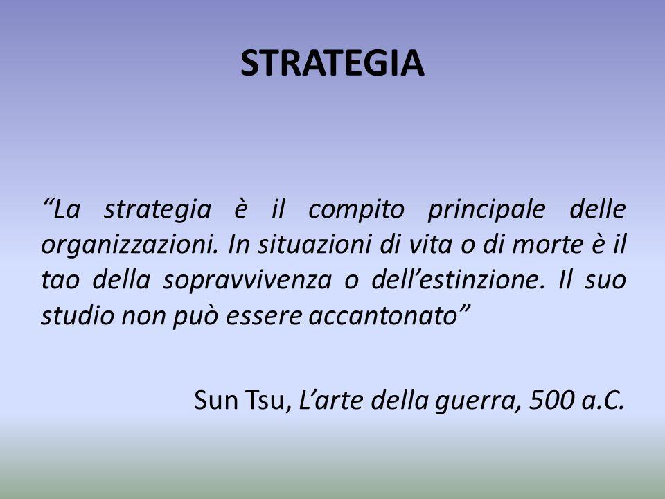 """STRATEGIA """"La strategia è il compito principale delle organizzazioni. In situazioni di vita o di morte è il tao della sopravvivenza o dell'estinzione."""