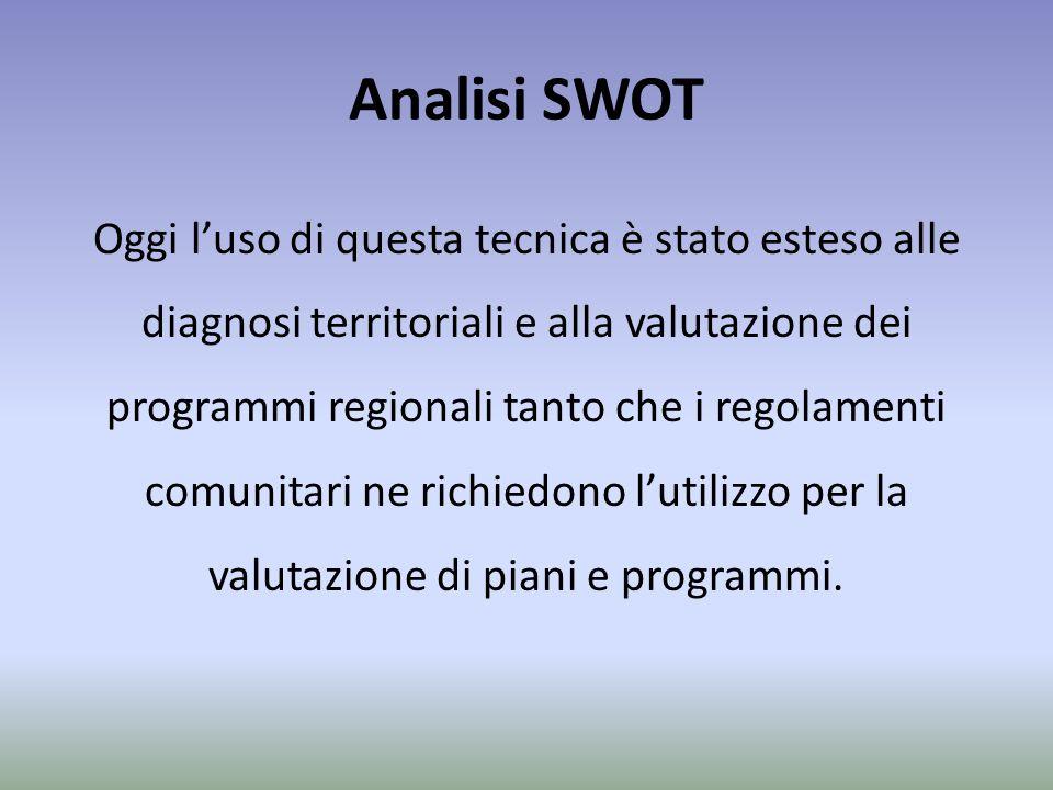 Analisi SWOT Oggi l'uso di questa tecnica è stato esteso alle diagnosi territoriali e alla valutazione dei programmi regionali tanto che i regolamenti