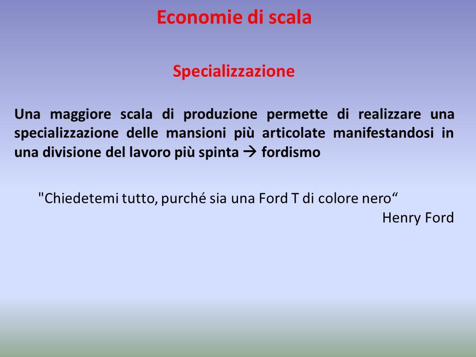 Economie di scala Specializzazione Una maggiore scala di produzione permette di realizzare una specializzazione delle mansioni più articolate manifest